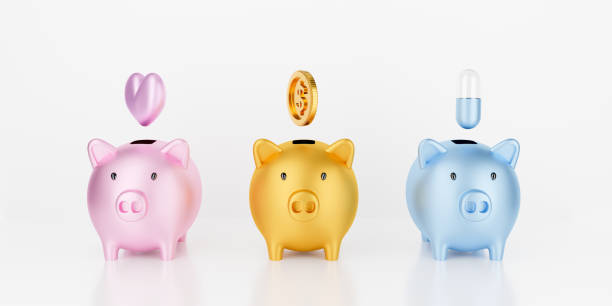 3d render gold piggy bank isolated on white background abstract with gold coins falling. Pig money box with pink heart and capsule pill. Save money business finance, health insurance and charity love. stock photo