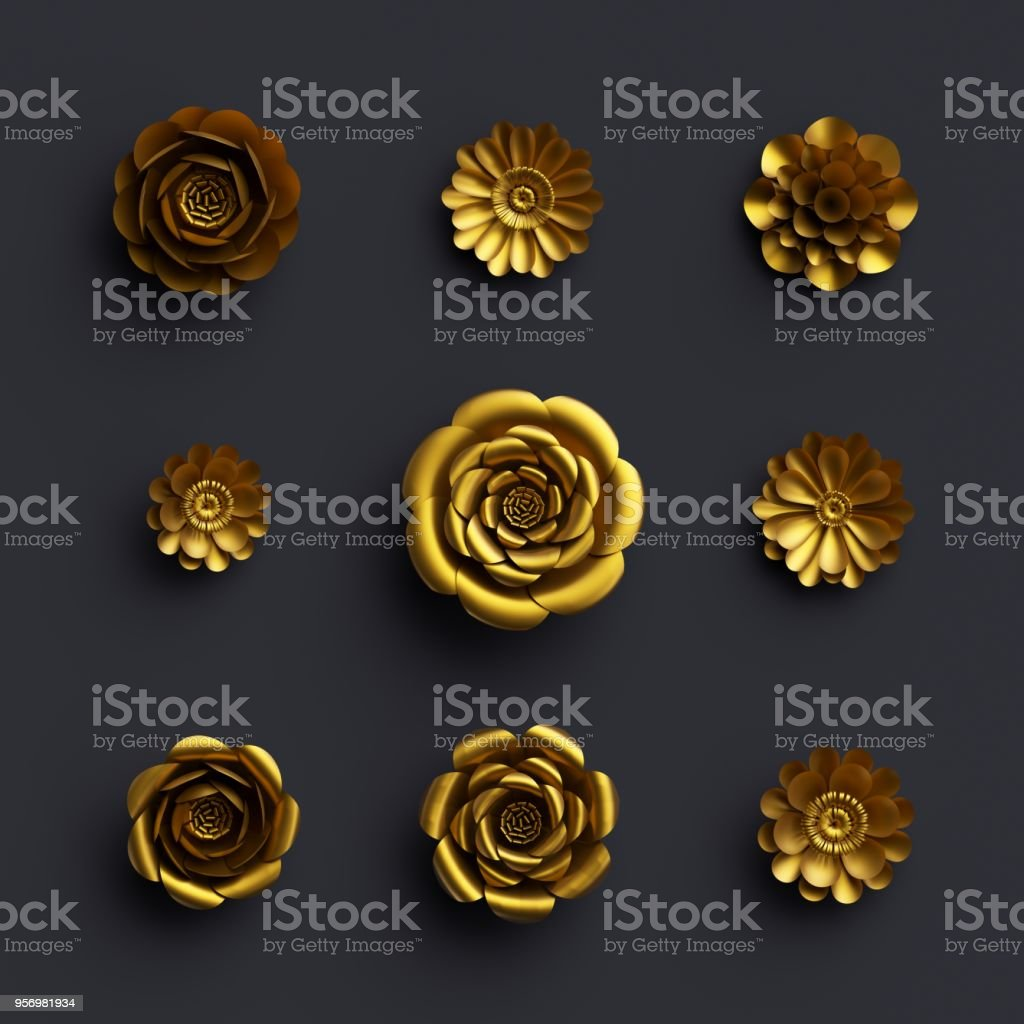 3d render, gold separated paper flowers, botanical clip art isolated on black background, artificial nature elements, handmade quilling craft, floral assortment stock photo