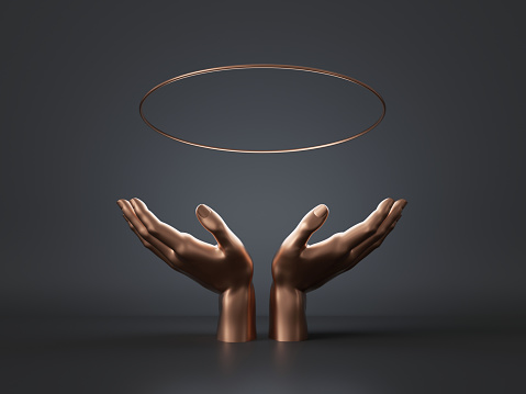 istock 3d render, golden woman mannequin hands isolated on black background, floating halo, open palms, holding gold ring, round blank frame, abstract fashion, luxury minimal mockup, simple clean design 1166774404
