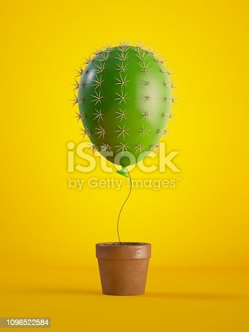 istock 3d render, green cactus air balloon growing, potted plant, isolated on yellow background, metaphorical concept, design element, digital illustration. 1096522584