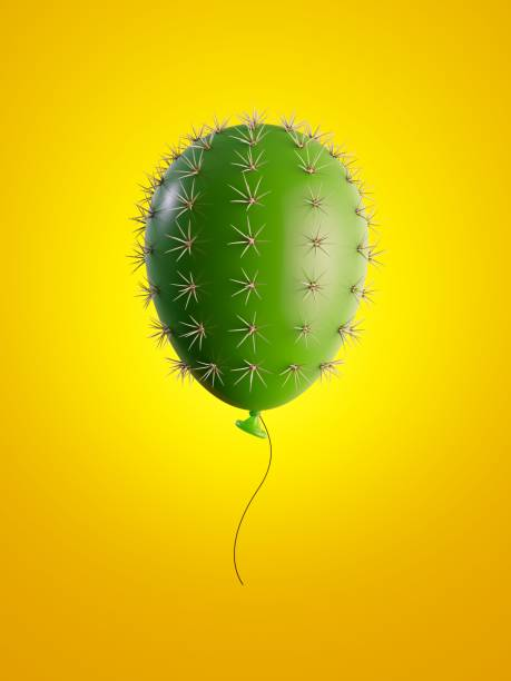 3d render, groene cactus luchtballon geïsoleerd op gele achtergrond, metaforisch concept, ontwerpelement, digitale afbeelding. - cactus stockfoto's en -beelden