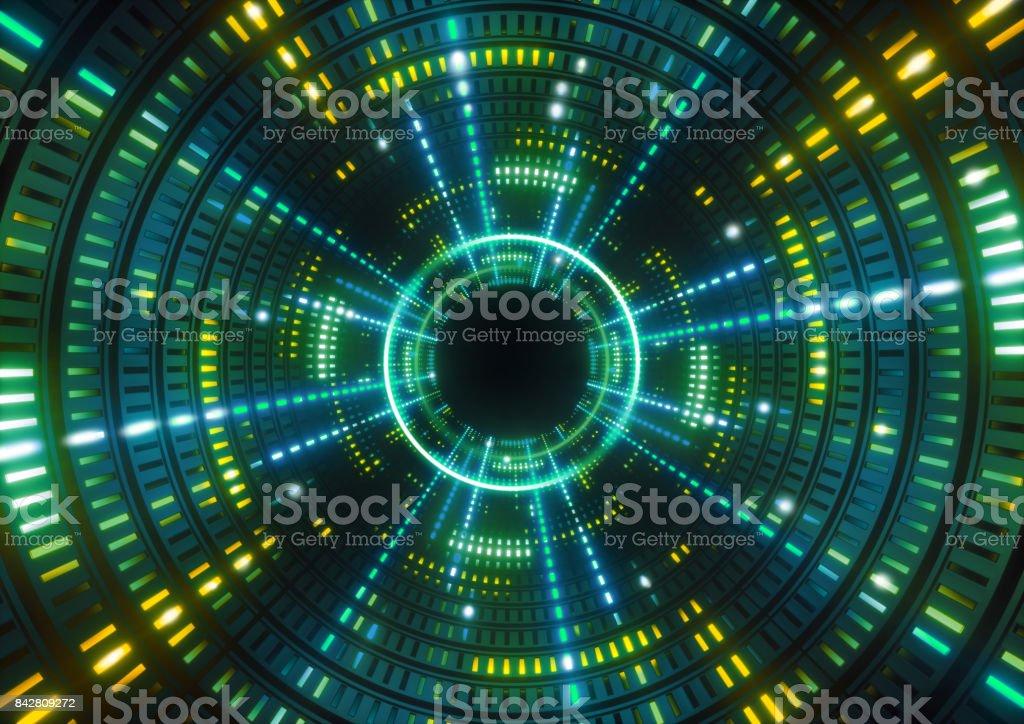 luzes de néon 3D render, verde, redondo túnel verde, abstrato base geométrica - foto de acervo