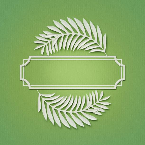 3d render, grünen papier handwerk hintergrund, palmblätter, posterrahmen, cover, banner, beschriftung - matheblatt etiketten stock-fotos und bilder