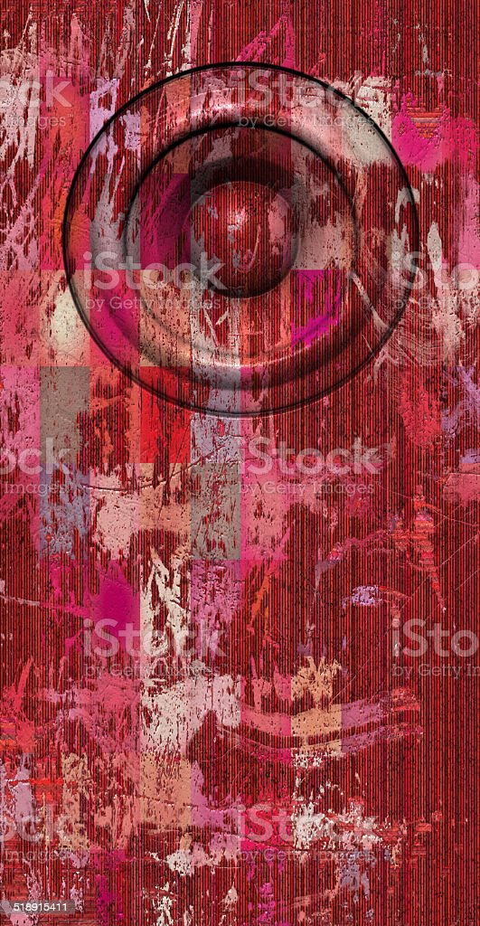 3d render grunge pink red old speaker sound system stock photo