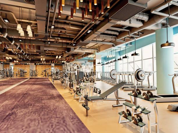3d rendem o centro de aptidão da ginástica - academia de ginástica - fotografias e filmes do acervo