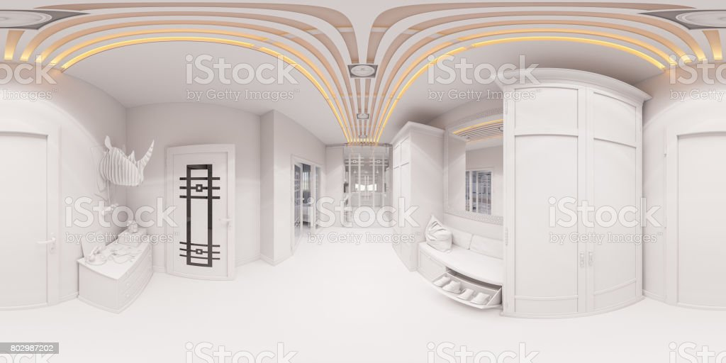 3d render hall interior design in classic style stock photo
