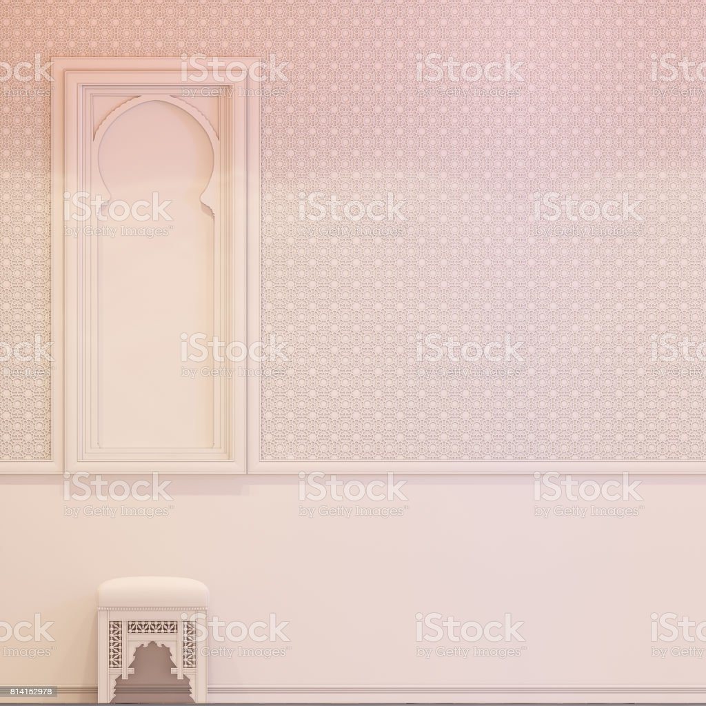 3d render hall Islamic style interior design stock photo