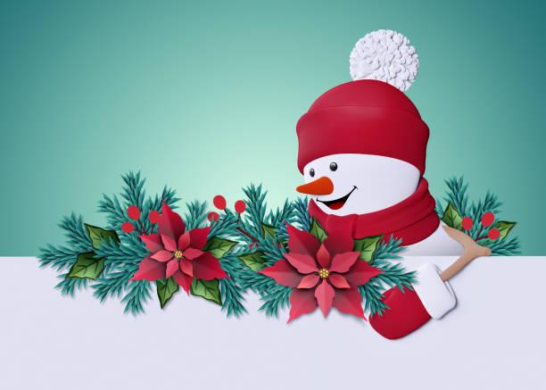 3d render, froh, dass nach links, schneemann lächelnd, papier schneiden weihnachtsgruß kartenvorlage, leere banner, textfreiraum, seitenrahmen, minze-hintergrund - weihnachtssterne aus papier stock-fotos und bilder