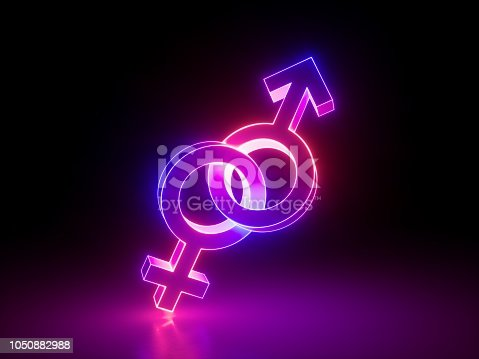 1043738824 istock photo 3d render, heterosexual couple, linked gender symbols, ultraviolet pink light, retro neon glowing sign isolated on black background, girl power electric lamp, adult sex icon, fluorescent element 1050882988