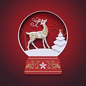 3d render, holiday ornament, reindeer inside, christmas fir tree, snowball decor, stag, flat paper craft winter landscape, cut layers, greeting card, round frame, red background, digital illustration