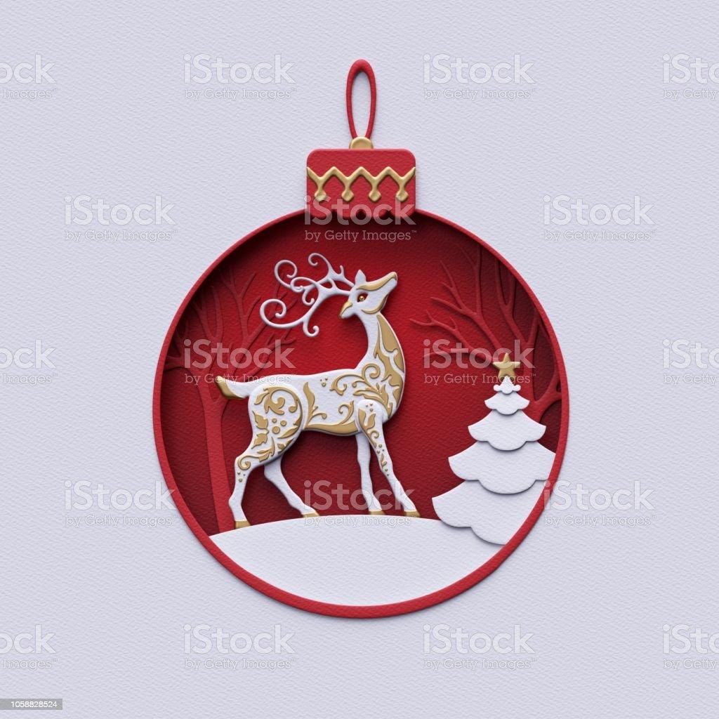 Kugel Für Tannenbaum.3d Rendern Urlaub Ornament Rentier Innen Rote Kugel Weihnachten