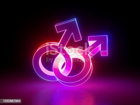 1043738824 istock photo 3d render, homosexual couple, gay, linked gender symbols, ultraviolet light, retro neon glowing sign isolated on black background, girl power electric lamp, adult sex icon, fluorescent element 1050882954