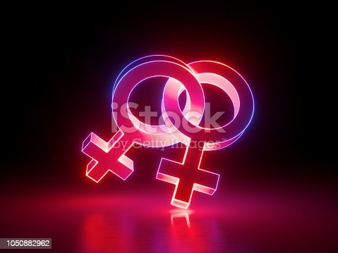 1043738824 istock photo 3d render, homosexual couple, lesbian, linked gender symbols, pink red light, retro neon glowing sign isolated on black background, girl power electric lamp, adult sex icon, venus, fluorescent element 1050882962