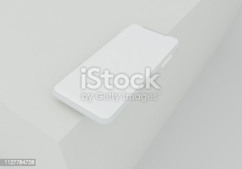 istock 3d render illustration hand holding the white smartphone with full screen and modern frame less design - isolated on white background 1127784728