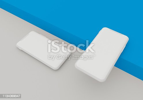 istock 3d render illustration hand holding the white smartphone with full screen and modern frame less design - isolated on white background 1134069347