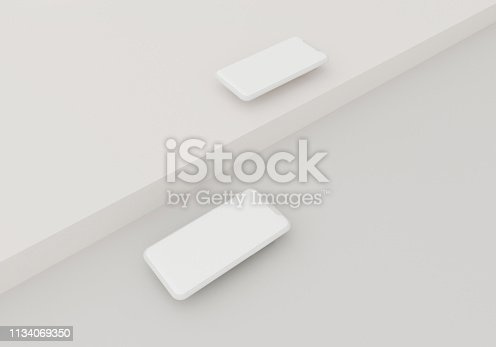 istock 3d render illustration hand holding the white smartphone with full screen and modern frame less design - isolated on white background 1134069350