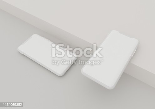 istock 3d render illustration hand holding the white smartphone with full screen and modern frame less design - isolated on white background 1134069352