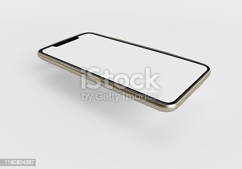 istock 3d render illustration hand holding the white smartphone with full screen and modern frame less design - isolated on white background 1160804397