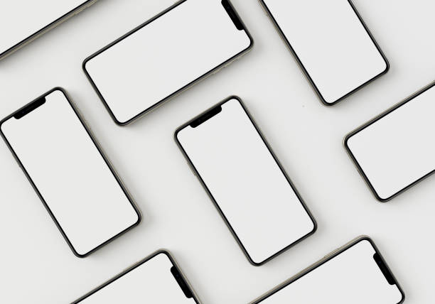3d rendem a mão da ilustração que prende o smartphone branco com tela cheia e quadro moderno menos projeto-isolado no fundo branco - smartphone mockup - fotografias e filmes do acervo