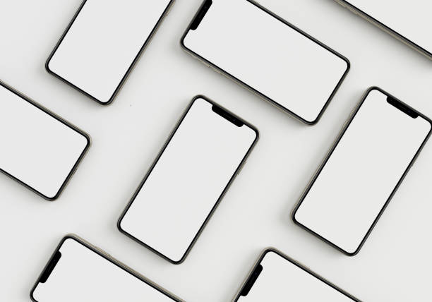3d render illustration hand holding the white smartphone with full screen and modern frame less design - isolated on white background - advertising isometric stock pictures, royalty-free photos & images