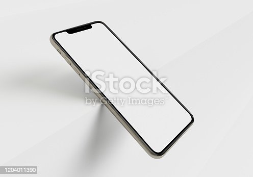 istock 3d render illustration hand holding the white smartphone with full screen and modern frame less design - isolated on white background 1204011390