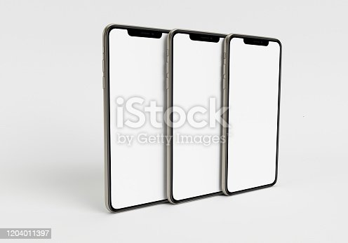 istock 3d render illustration hand holding the white smartphone with full screen and modern frame less design - isolated on white background 1204011397