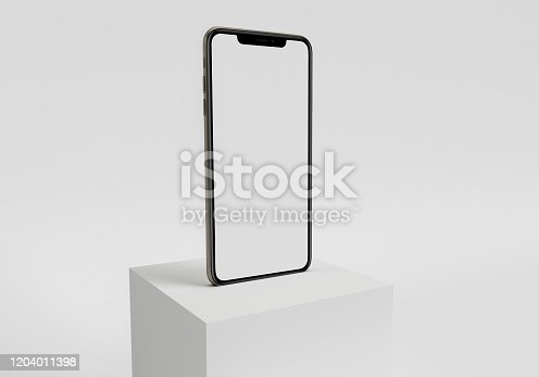istock 3d render illustration hand holding the white smartphone with full screen and modern frame less design - isolated on white background 1204011398