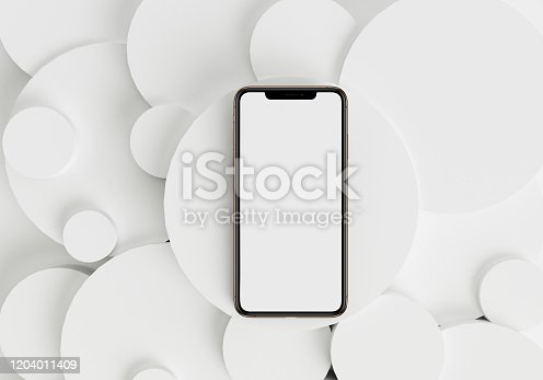 istock 3d render illustration hand holding the white smartphone with full screen and modern frame less design - isolated on white background 1204011409