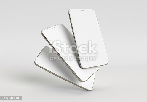 istock 3d render illustration hand holding the white smartphone with full screen and modern frame less design - isolated on white background 1204011431