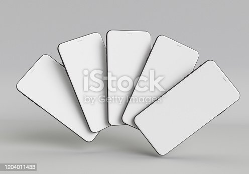 istock 3d render illustration hand holding the white smartphone with full screen and modern frame less design - isolated on white background 1204011433