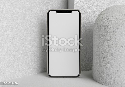 istock 3d render illustration hand holding the white smartphone with full screen and modern frame less design - isolated on white background 1204011436