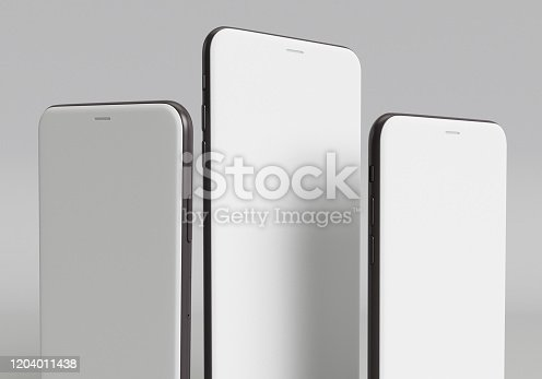 istock 3d render illustration hand holding the white smartphone with full screen and modern frame less design - isolated on white background 1204011438