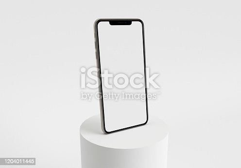 istock 3d render illustration hand holding the white smartphone with full screen and modern frame less design - isolated on white background 1204011445