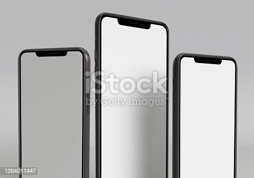 istock 3d render illustration hand holding the white smartphone with full screen and modern frame less design - isolated on white background 1204011447