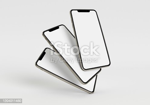 istock 3d render illustration hand holding the white smartphone with full screen and modern frame less design - isolated on white background 1204011450