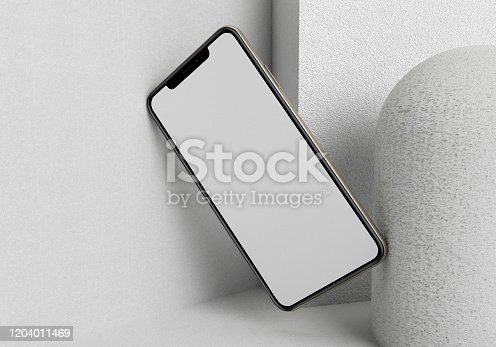 istock 3d render illustration hand holding the white smartphone with full screen and modern frame less design - isolated on white background 1204011469