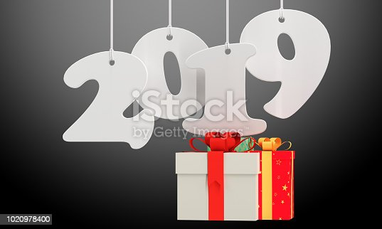 istock 3d render Illustration of 2019 white paper origami card with gift boxes. 1020978400