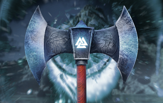 3d render illustration of frozen viking axe with glowing Valknut symbol front view.