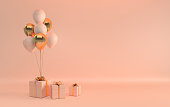 3d render illustration of glossy golden, beige balloons and gift box with bow on pastel beige background. Empty space for party, promotion social media banners, posters. Realistic balloons