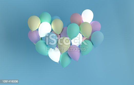 1085249444 istock photo 3d render illustration of realistic colorful balloon on blue background, heart shape, luminous ифддщщт. Valentine's Day romantic elegant 14 february card. For party, promotion social media banners, posters. 1091416336