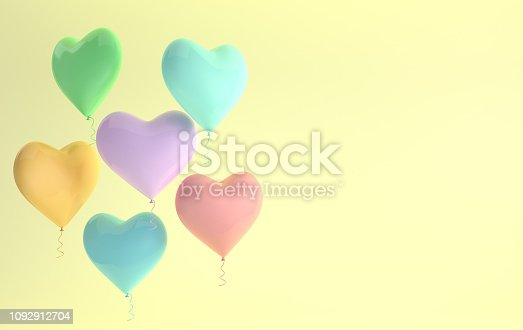 istock 3d render illustration of realistic colorful glossy heart balloon on yellow background. Valentine's Day romantic elegant 14 february card. For party, promotion social media banners, posters. 1092912704