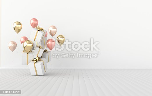3d render illustration of realistic glossy colorful balloons and gift box with ribbon bow on white background. Empty space for birthday, party, promotion social media banners, posters.
