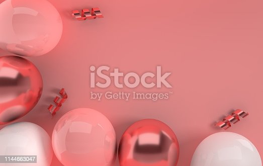 istock 3d render illustration of realistic glossy pink and rose gold, white balloons, ribbon confetti on pastel background. Empty space for birthday, party, promotion social media banners, posters. 1144663047