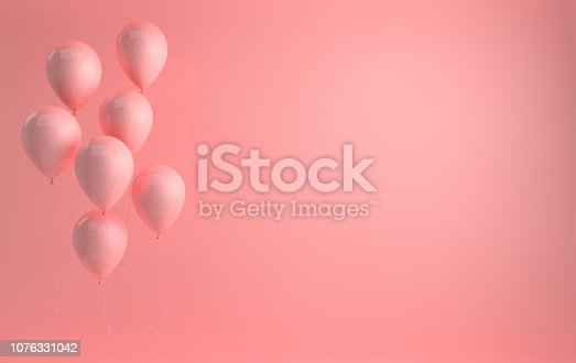 istock 3d render illustration of realistic glossy pink balloons on pastel pink background. Empty space for birthday, party, promotion social media banners, posters. 1076331042