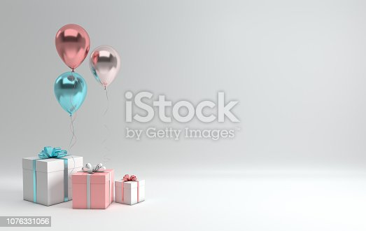 istock 3d render illustration of realistic glossy pink, blue, silver and rose gold balloons and white gift box with ribbon bow on white background. Empty space for birthday, party, promotion social media banners, posters. 1076331056