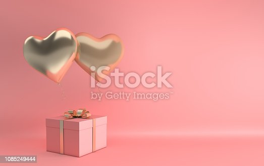 istock 3d render illustration of realistic gold glossy heart balloon, gift box with golden bow on pink background. Valentine's Day romantic elegant 14 february card. Empty space for party, promotion social media banners, posters. 1085249444