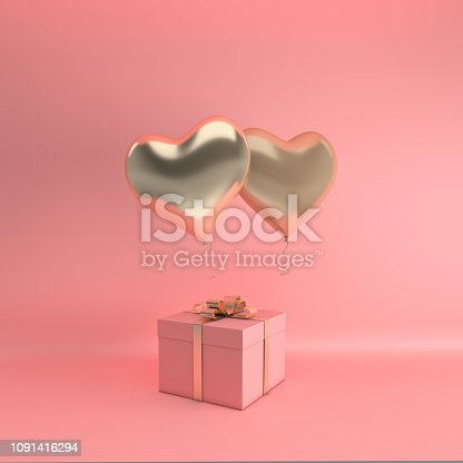 istock 3d render illustration of realistic gold glossy heart balloon, gift box with golden bow on pink background. Valentine's Day romantic elegant 14 february card. 1091416294