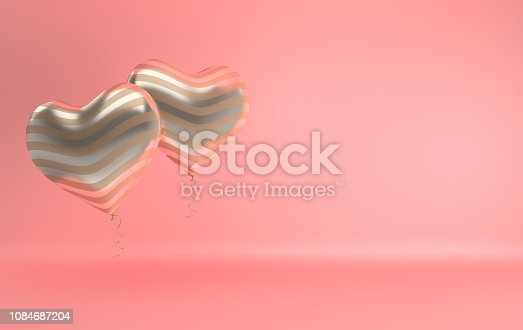 istock 3d render illustration of realistic gold glossy heart balloon on pink background. Valentine's Day romantic elegant 14 february card. Empty space for party, promotion social media banners, posters. 1084687204