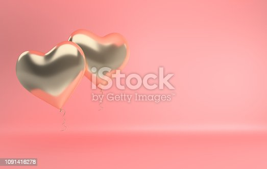 istock 3d render illustration of realistic gold glossy heart balloon on pink background. Valentine's Day romantic elegant 14 february card. Empty space for party, promotion social media banners, posters. 1091416278