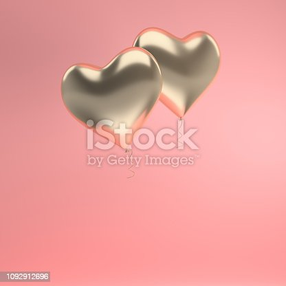 istock 3d render illustration of realistic gold glossy heart balloon on pink background. Valentine's Day romantic elegant 14 february card. Empty space for party, promotion social media banners, posters. 1092912696